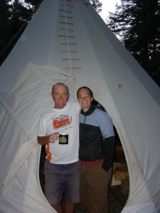 Where it all started for us - in a tipi at camp